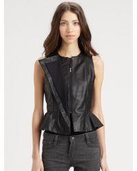 BCBGMAXAZRIA Leather Peplum Top - Lyst