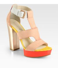 Boutique 9 | Rivington Mixed Media Platform Sandals | Lyst