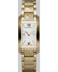 Burberry Check Engraved Bracelet Watchgold - Lyst
