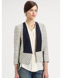 By Malene Birger Chambraytrimmed Striped Blazer - Lyst