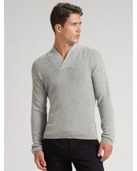 Calvin Klein Gray Shawlcollar Sweater - Lyst