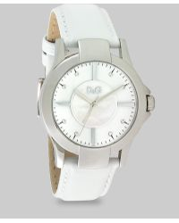 Dolce & Gabbana Mother Of Pearl Leather Watchwhite