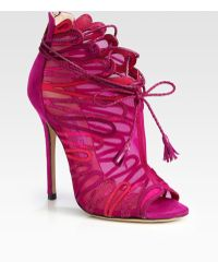 Jimmy Choo Kafira Mesh and Suede Laceup Ankle Boots - Lyst