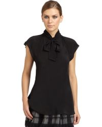 Moschino Cheap & Chic Silk Tie Neck Blouse - Lyst