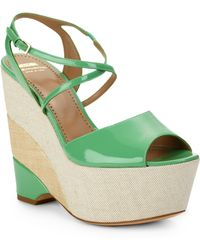 Boutique Moschino - Patent Leather Mixed Media Wedge Sandals - Lyst