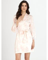 Oscar de la Renta Lace Trim Short Robe - Lyst