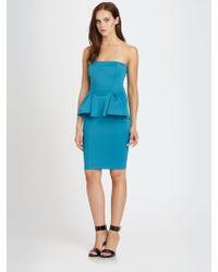 Torn Camilla Strapless Scuba Jersey Peplum Dress - Blue