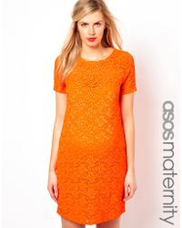 Asos Asos Maternity Shift Dress in Lace with Sparkle Detail - Lyst