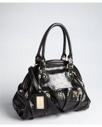 Big Buddha - Black Perforated Faux Leather Keller Zip Satchel - Lyst