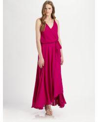 Haute Hippie Silk Halter Maxi Dress - Lyst