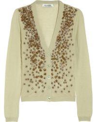 Valentino Embellished Fine-Knit Cashmere and Silk-Blend Cardigan - Lyst
