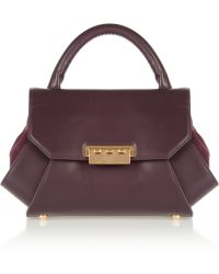 Z Spoke by Zac Posen Pleated Leather and Suede Bag - Purple
