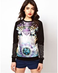 ASOS Collection Asos Sweatshirt with Woven Front Tiger Print with Studs black - Lyst