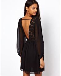 ASOS Collection | Wrap Dress with Blouson Sleeve Lace Back | Lyst