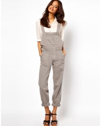 ASOS Collection | Asos Coloured Denim Dungaree in Moon Rock Grey | Lyst