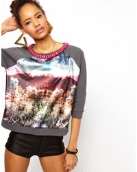 ASOS Collection Asos Sweatshirt with Woven Front Desert Scene with Chain gray - Lyst