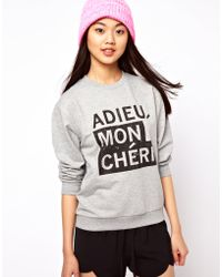 ASOS Collection Sweatshirt with Adieu Mon Cheri gray - Lyst