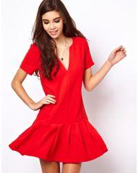 ASOS Collection Shift Dress with Drop Waist - Lyst