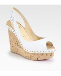 Christian Louboutin Monico Studded Leather Cork Wedge Pumps - Lyst