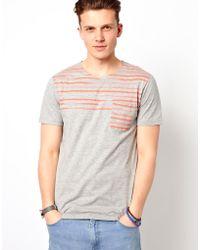 Esprit Tshirt with Stripe Pocket - Grey