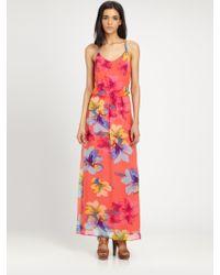Ella Moss Hibiscus Silk Chiffon Maxi Dress - Orange