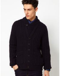 French Connection Lambswool Knit Button Through Cardigan - Blue