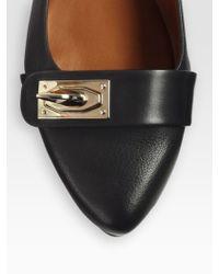 Givenchy Saturnia Sharklock Leather Flats - Black