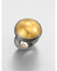 Gurhan Amulet 24K Yellow Gold & Blackened Sterling Silver Dome Ring - Lyst