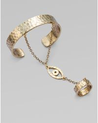 Low Luv by Erin Wasson Evil Eye Bracelet with Attached Ring - Metallic