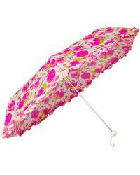 Lulu Guinness Rose Print Superslim2 Umbrella pink - Lyst