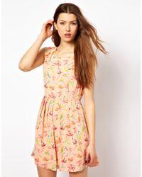Max C Bird Print Dress - Pink