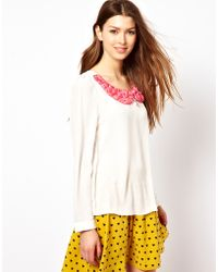 Max C Blouse with Rose Collar - White