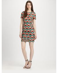 Milly Printed Silk Dress - Lyst