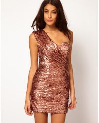 Opulence England One Shoulder Sequin Dress - Pink