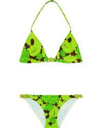 Oscar de la Renta Printed Halterneck Bikini - Green