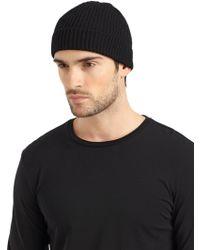 Portolano Italian Merino Wool Ribbed Hatblack - Lyst
