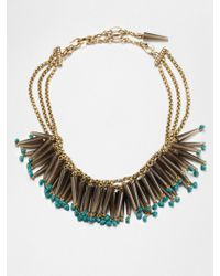 Stephen Dweck Smoky Topaz Turquoise Bib Necklace - Blue