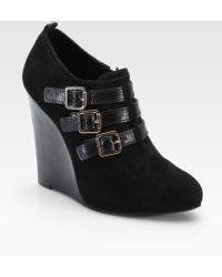 Tory Burch Gabriel Suede Leather Wedge Ankle Boots - Black