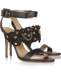 Valentino Embroidered Leather Sandals - Lyst