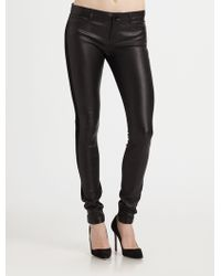 Vince Mixed Media Leather Jeans - Lyst