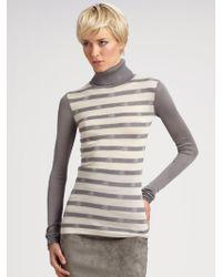 Z Spoke by Zac Posen Striped Silk Turtleneck - Gray
