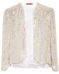 Alice + Olivia Wheeler Sequined Silk Organza Jacket white - Lyst