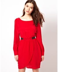 Aryn K. Tulip Dress with Long Sleeves and Cinched Waist - Red