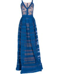 Elie Saab Lace and Stripe Skirt Gown - Lyst