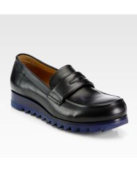 Jil Sander Leather Wedge Loafers - Black