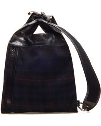 Lanvin - Tartan Wool and Leather Tote - Lyst