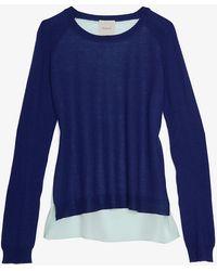 Mason by Michelle Mason Silk Georgette Panel Back Sweater - Lyst