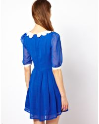 Max C Dress with Scallop Collar - Blue