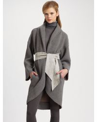 Piazza Sempione Doubleface Jersey Cocoon Coat - Gray