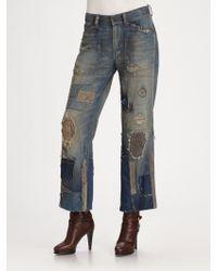 Ralph Lauren Blue Label Cropped Wideleg Jeans - Lyst